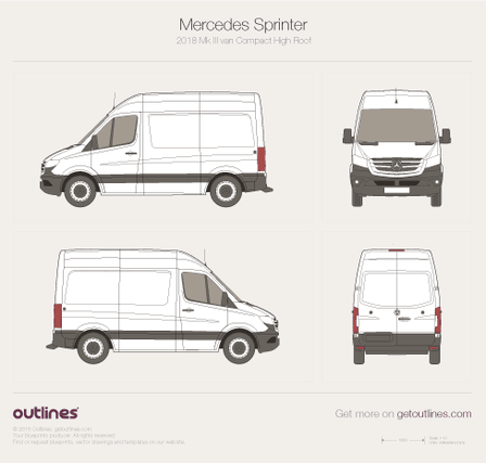 2018 Mercedes-Benz Sprinter Mk III Compact. Normal Roof Van blueprint