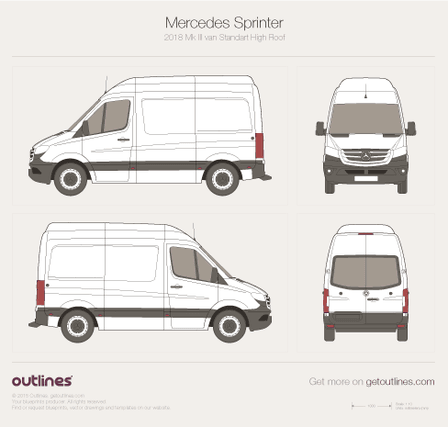 2018 Mercedes-Benz Sprinter Mk III Standart. High Roof Van blueprint