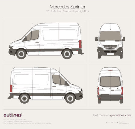 2018 Mercedes-Benz Sprinter Mk III Standart. Superhigh Roof Van blueprint