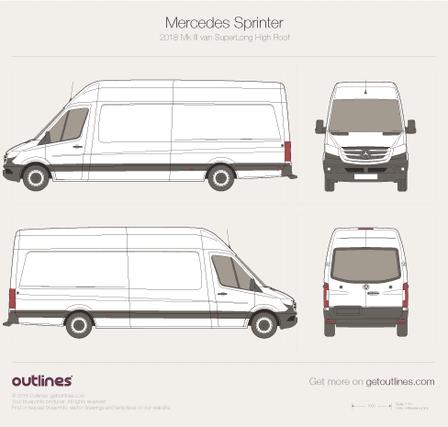 2018 Mercedes-Benz Sprinter Mk III Van blueprints and drawings