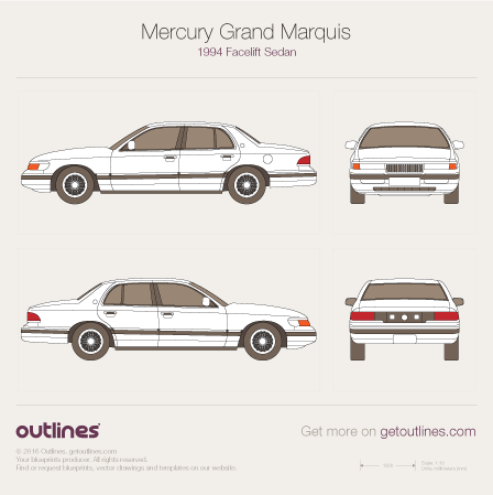 1994 Mercury Grand Marquis Facelift Sedan blueprint