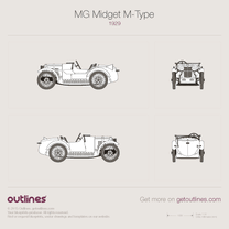 1929 MG Midget M-Type Roadster blueprint