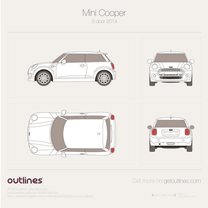 2014 Mini Cooper III F56 3-door Hatchback blueprint