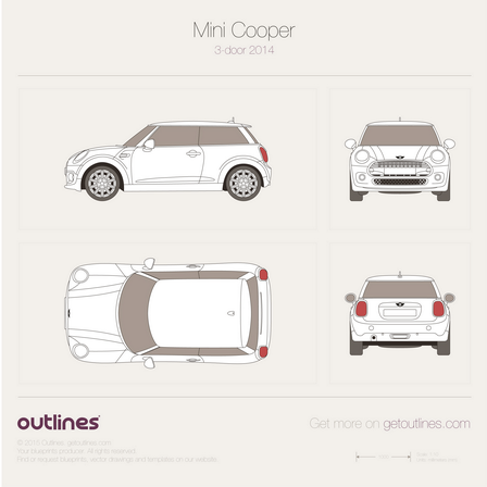 2014 Mini Cooper III F56 Hatchback blueprints and drawings