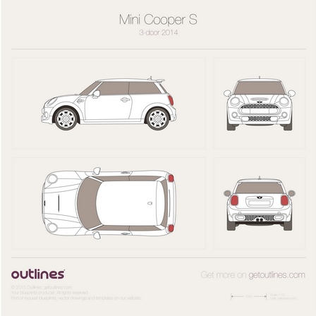2014 Mini Cooper S III F56 3-door Hatchback blueprint