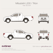2006 Mitsubishi L200 Club Cab Pickup Truck blueprint