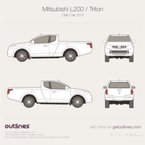 2015 Mitsubishi L200 Club Cab Pickup Truck blueprint