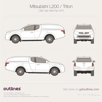2015 Mitsubishi L200 Club Cab Hard Top Pickup Truck blueprint
