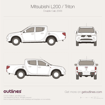 2005 Mitsubishi Hunter Double Cab Pickup Truck blueprint
