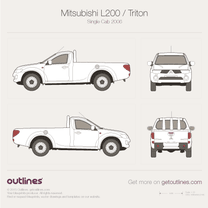 2005 Mitsubishi L200 Single Cab Pickup Truck blueprint
