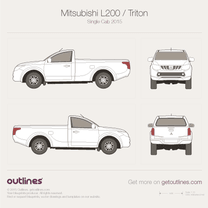 2015 Mitsubishi Strada Single Cab Pickup Truck blueprint