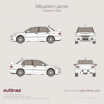 2005 Mitsubishi Lancer Evolution IX Sedan blueprint