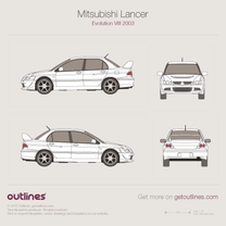 2003 Mitsubishi Lancer Evolution VIII Sedan blueprint