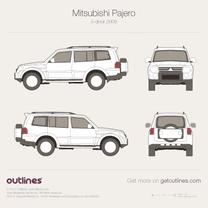 2006 Mitsubishi Pajero V80 LWB SUV blueprint