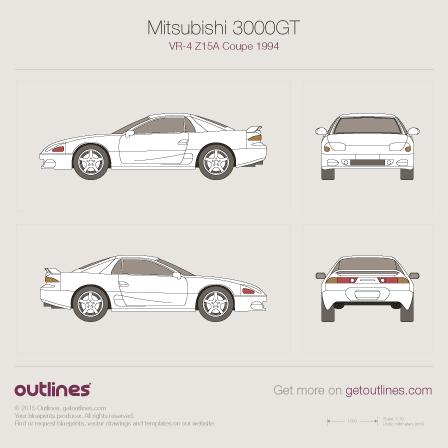 1994 Mitsubishi 3000GT VR-4 Z15A Coupe blueprint