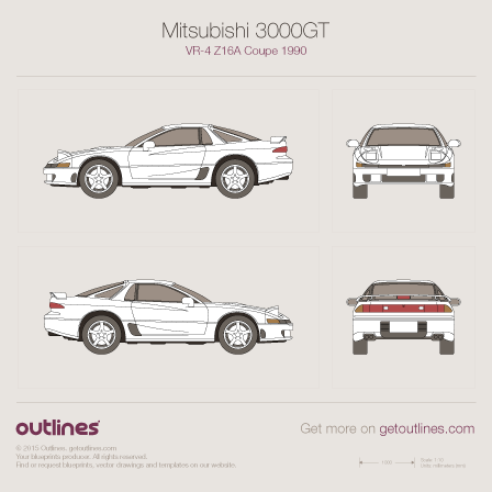 1990 Mitsubishi 3000GT VR-4 Z16A Coupe blueprints and drawings
