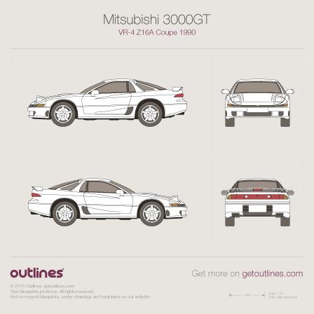 1990 Mitsubishi 3000GT VR-4 Z16A Coupe blueprint