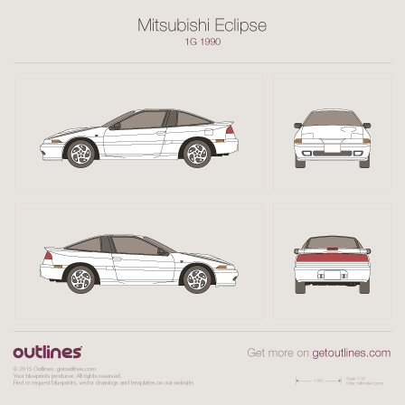 1990 Mitsubishi Eclipse 1G Coupe blueprints and drawings