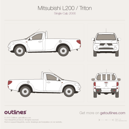 2005 Mitsubishi L200 Single Cab Pickup Truck blueprints and drawings