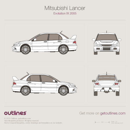 2005 Mitsubishi Lancer Evolution IX Sedan blueprints and drawings