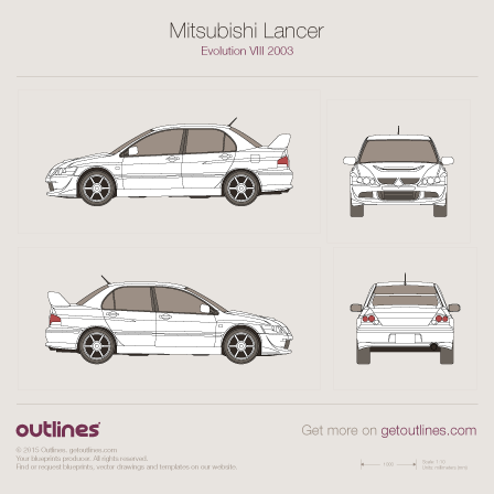 2003 Mitsubishi Lancer Evolution VIII Sedan blueprints and drawings