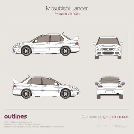 2003 Mitsubishi Lancer Evolution VIII Sedan blueprint