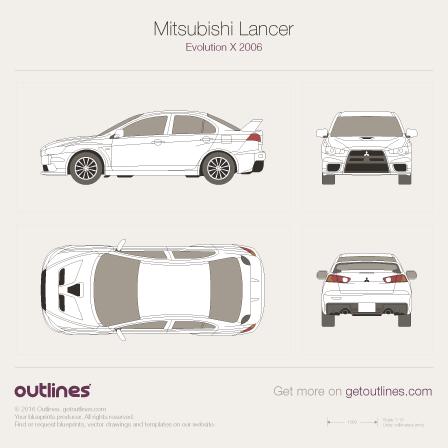 2007 Mitsubishi Lancer Evolution X Sedan blueprint