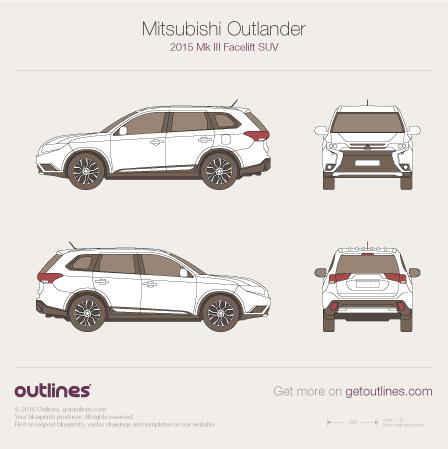 2015 Mitsubishi Outlander III Facelift SUV blueprint