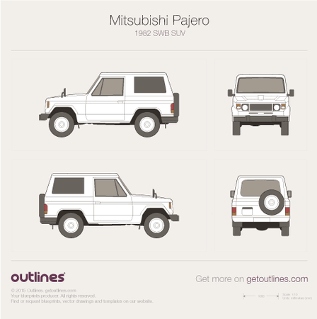 1982 Mitsubishi Pajero L040 SUV blueprints and drawings
