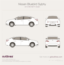 2012 Nissan Bluebird Sylphy Mk III B17 Sedan blueprint