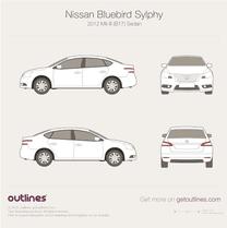 2012 Nissan Bluebird Sylphy Mk III B17 Sedan blueprint