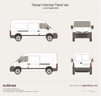 2003 Nissan Interstar Panel Van L2 H2 Facelift Wagon blueprint