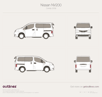 2009 Nissan NV200 Minivan blueprint