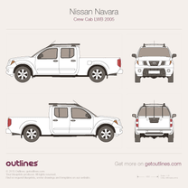 2005 Nissan Frontier Crew Cab LWB Pickup Truck blueprint