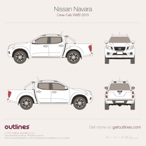 2015 Nissan Frontier Crew Cab SWB Pickup Truck blueprint