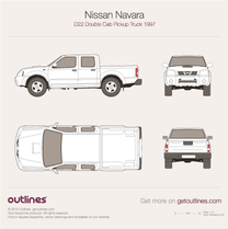 1997 Nissan Navara D22 Double Cab Pickup Truck blueprint