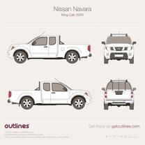 2005 Nissan Navara King Cab SWB Pickup Truck blueprint