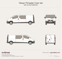 2007 Nissan Primastar Crew Van LWB Low Roof Facelift Van blueprint