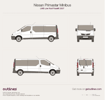2007 Nissan Primastar Minibus LWB Low Roof Facelift Bus blueprint