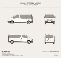 2007 Nissan Primastar Minibus SWB Low Roof Facelift Bus blueprint