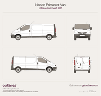 2007 Nissan Primastar Van LWB Low Roof Facelift Van blueprint