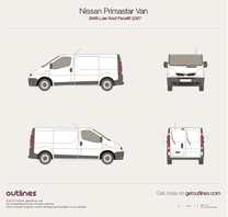 2007 Nissan Primastar Van SWB Low Roof Facelift Van blueprint