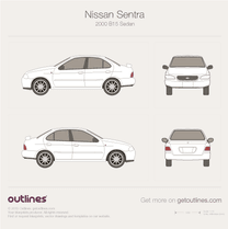 2000 Nissan Sentra B15 Sedan blueprint