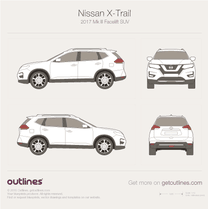 2017 Nissan X-Trail III Facelift SUV blueprint