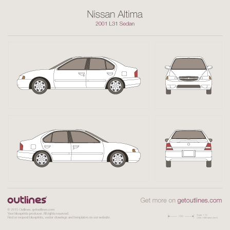 2001 Nissan Altima L31 Sedan blueprints and drawings