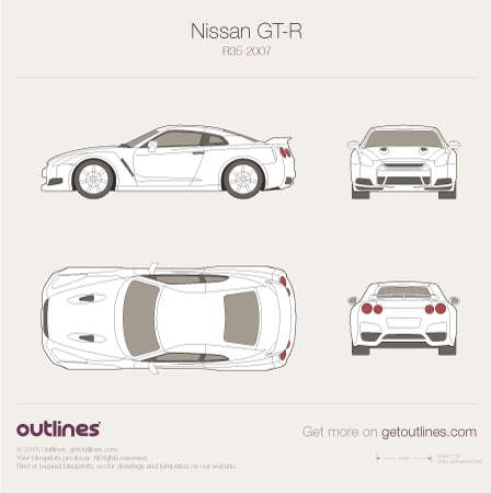 2008 Nissan GT-R R35 Coupe blueprints and drawings
