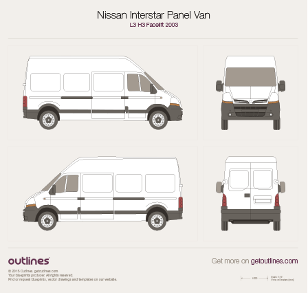 2003 Nissan Interstar Panel Van L3 H3 Facelift Van blueprint
