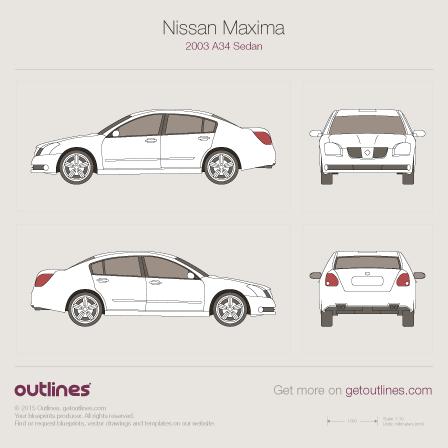 2003 Nissan Maxima A34 Sedan blueprint