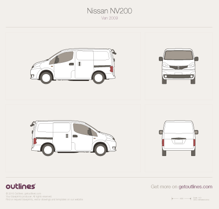 2009 Nissan NV200 Vanette Van blueprints and drawings