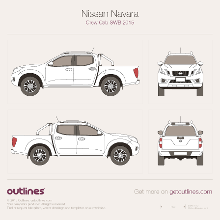 2015 Nissan Navara Crew Cab Pickup Truck blueprints and drawings